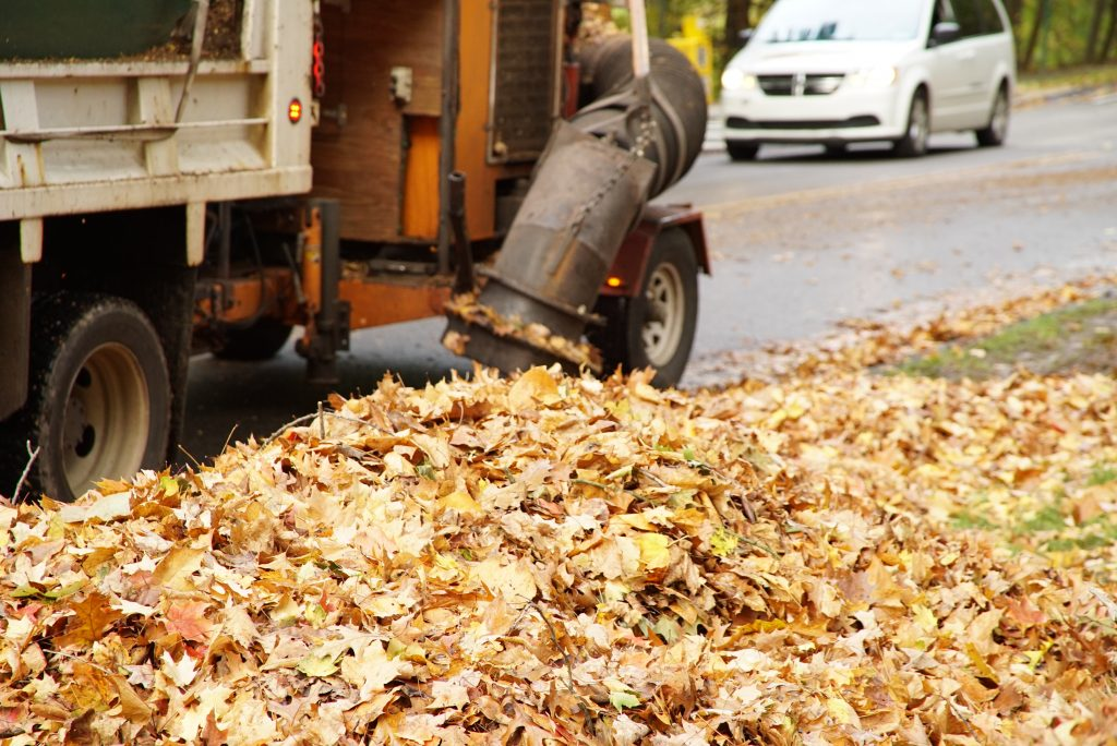 fall leaves public works truck